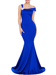 Asymmetric-Neck-Floral-Mermaid-Evening-Dress