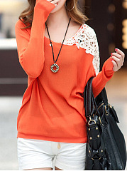 Round-Neck-Cutout-Patchwork-Long-Sleeve-T-Shirts
