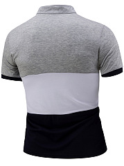 Band Collar Color Block Short Sleeve Men T-Shirt