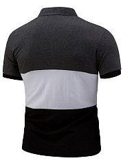 Band Collar  Color Block  Short Sleeve Short Sleeves T-Shirts