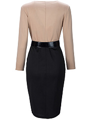 Office V-Neck Color Block Belt Bodycon Dress