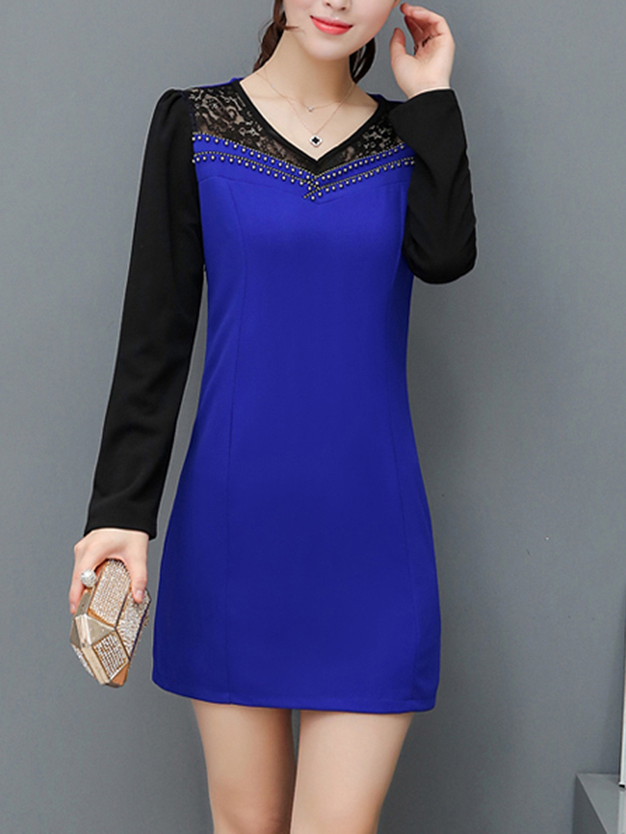 V-Neck Patchwork  Hollow Out Bodycon Dress