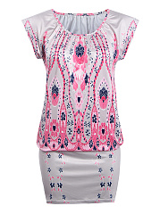 Round Neck Tribal Printed Elastic Bodycon Dress