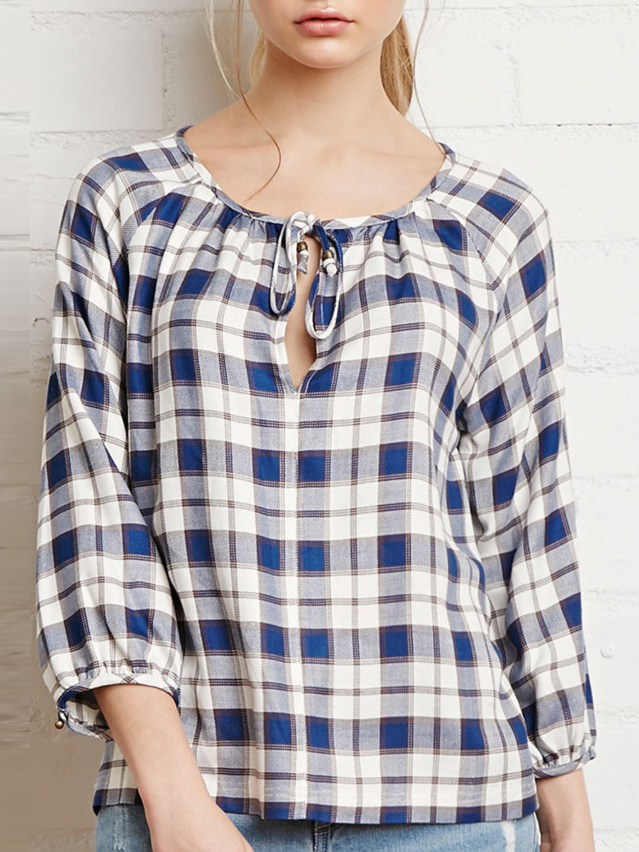Tie Collar  Plaid Shirts&Blouses