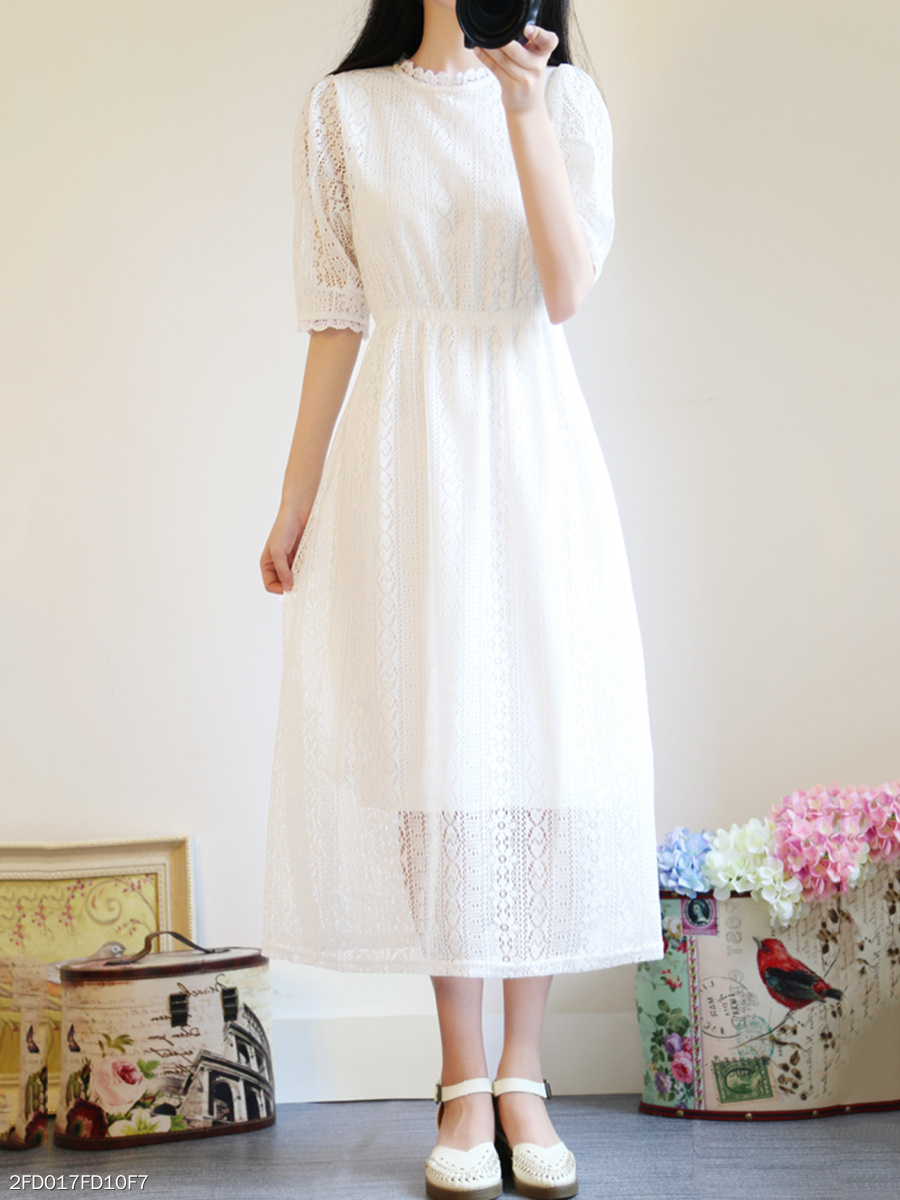 Round Neck  Elastic Waist  Lace Maxi Dress