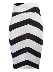 Color-Block-Zigzag-Striped-Pencil-Midi-Skirt