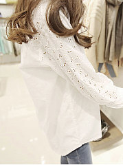Spring Summer  Polyester  Women  Turn Down Collar  Decorative Lace  Plain Blouses