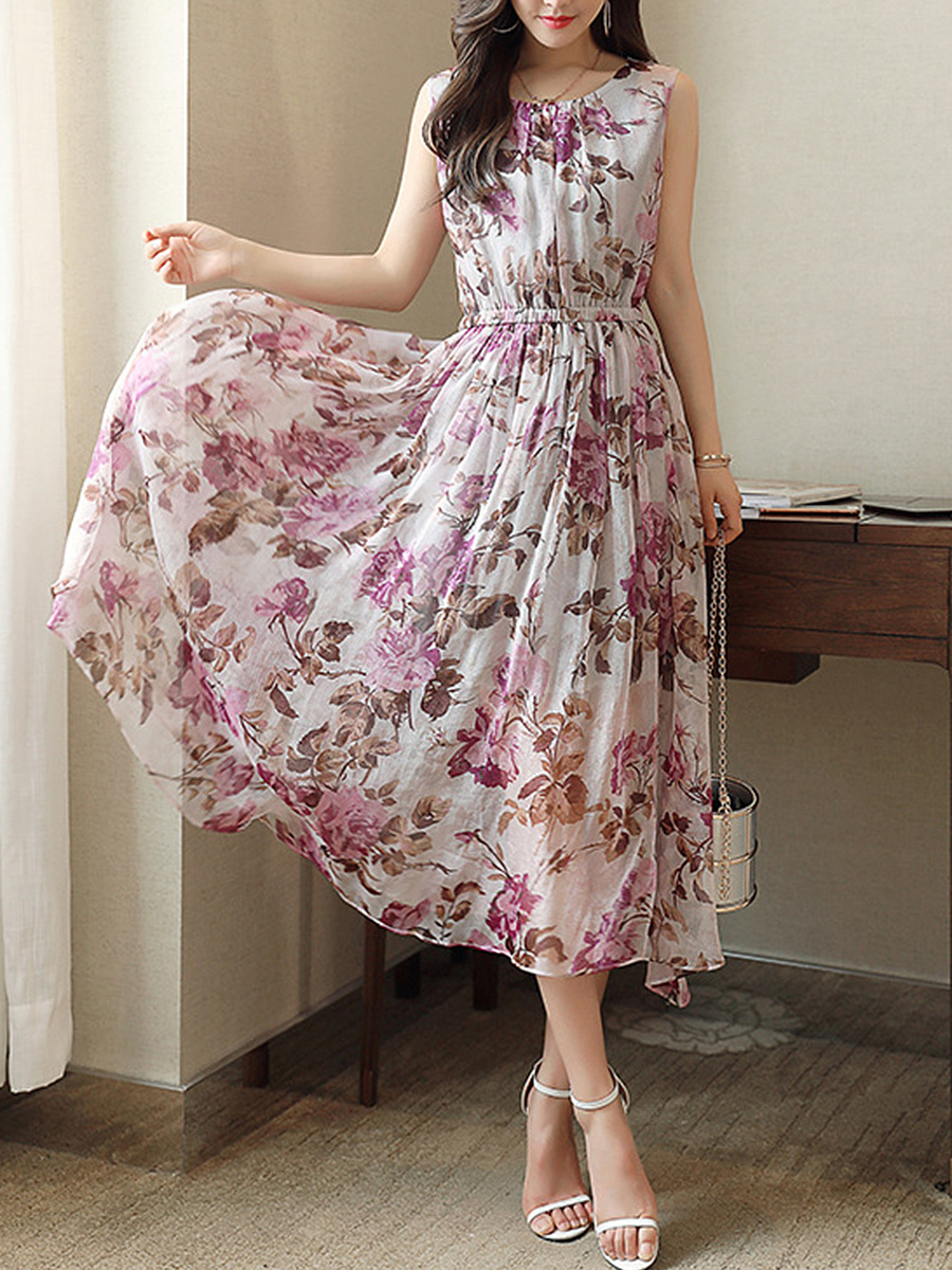 Round Neck  Elastic Waist  Floral Printed  Chiffon Maxi Dress