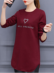 Autumn Spring Winter  Cotton  Women  Round Neck  Slit  Letters Long Sleeve T-Shirts