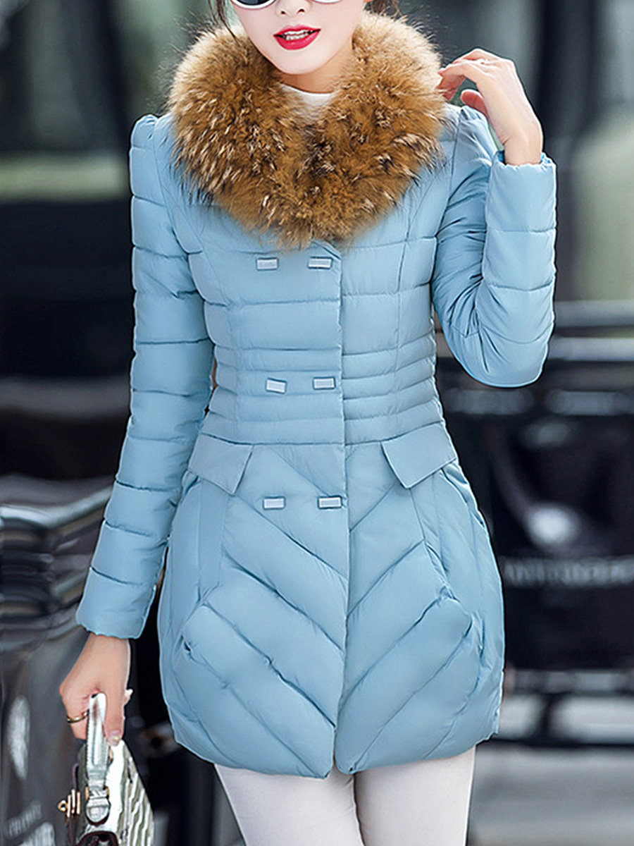 Faux Fur Collar Pocket Quilted Padded Coat