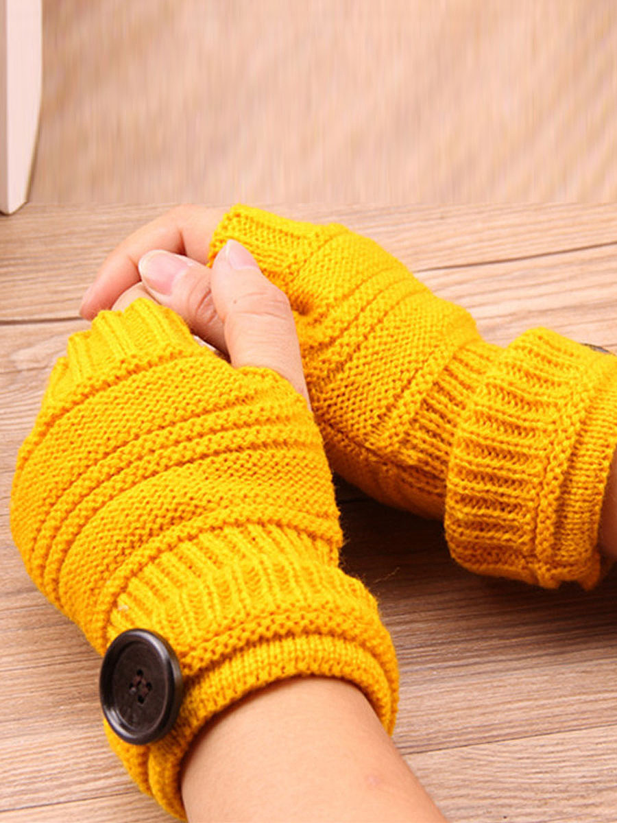 Knitted Half Finger Winter Gloves Soft Warm Flip Fingerless  Mitten
