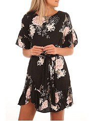 Ruffled Hem  Belt  Floral Printed Round Neck Skater Dress