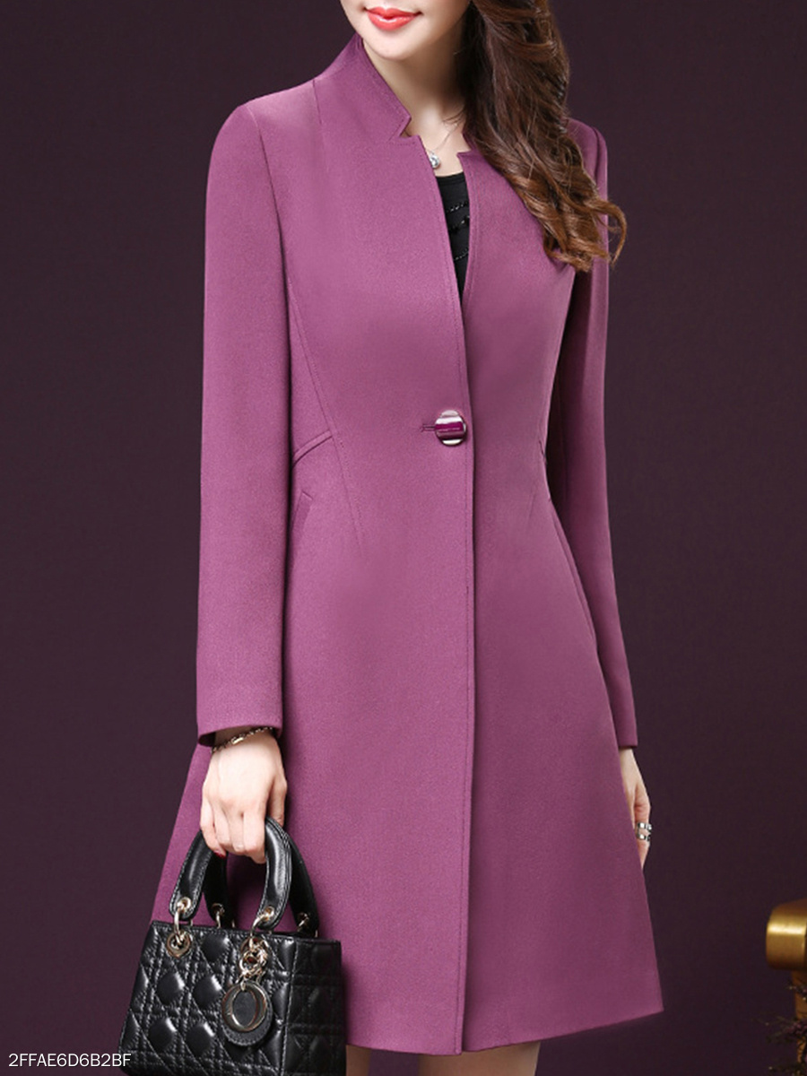 Slit Pocket  Single Button  Plain  Long Sleeve Trench Coats