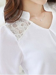 Autumn Spring  Polyester  Women  V-Neck  Decorative Lace  Plain  Long Sleeve Blouses