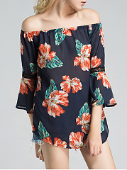 Off Shoulder  Hollow Out Printed  Kimono Sleeve Tunic