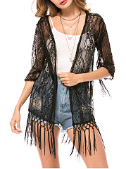 Fringe See-Through  Plain Lace Kimono