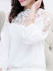 Spring Summer  Chiffon  Women  Boat Neck  Decorative Lace Patchwork  Plain  Tie Sleeve  Long Sleeve Blouses