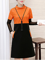 Band Collar  Fake Two-Piece  Color Block Shift Dress