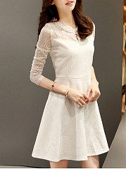 Band Collar Lace See-Through Keyhole Plain Skater Dress