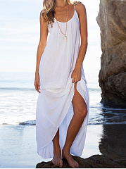 Spaghetti Strap  Backless  Plain Maxi Dress