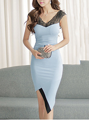 V-Neck Asymmetric Hem Hollow Out Bodycon Dress