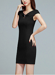V-Neck  Keyhole  Plain Bodycon Dress