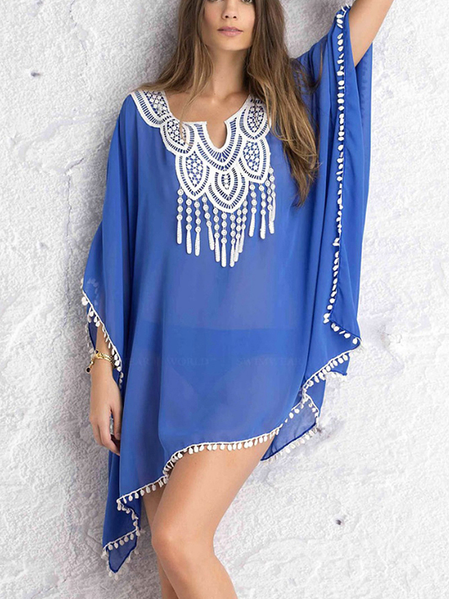 Pompom-Trim Decorative Lace See-Through Tunic