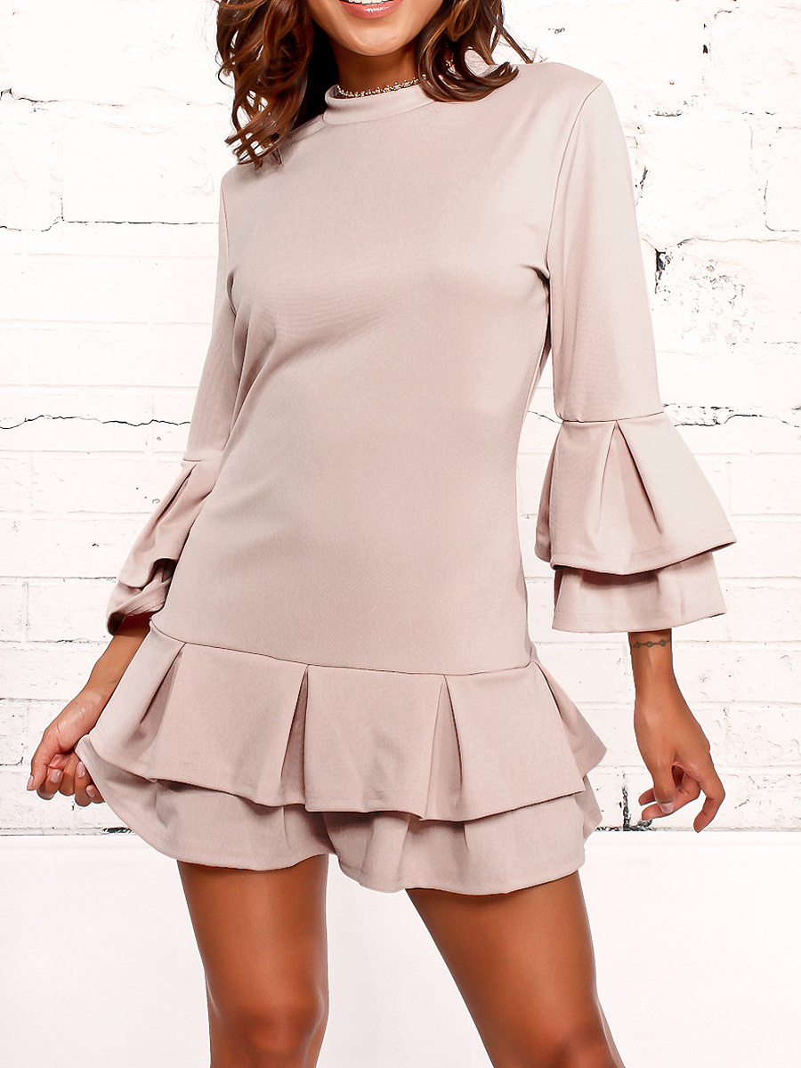 Band Collar Bell Sleeve Ruffled Hem Plain Mini Skater Dress