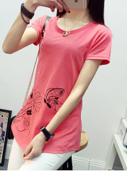 Summer  Cotton  Women  Round Neck  Animal Printed Printed Short Sleeve T-Shirts