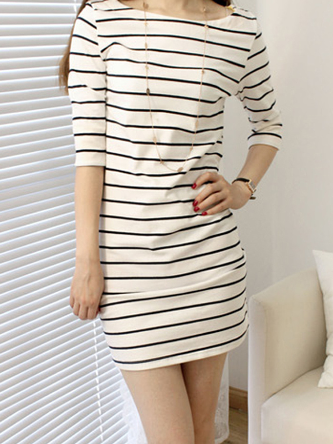 Image of Fashionmia Boat Neck Striped Blend Bodycon Dress