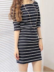 Boat Neck  Striped  Blend Bodycon Dress