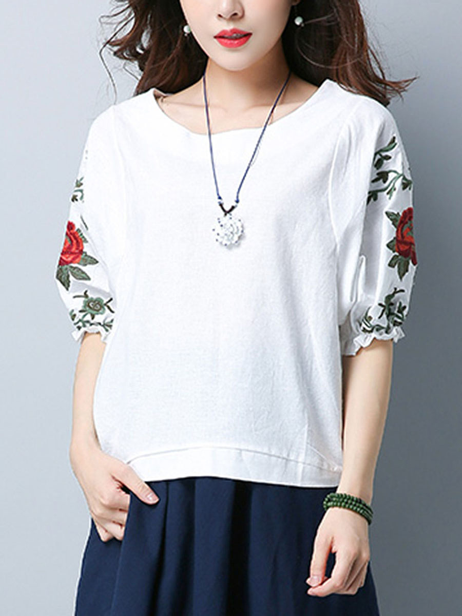 Round Neck  Embroidery Blouse