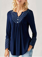 Autumn Spring  Blend  Women  V-Neck  Asymmetric Hem  Decorative Button  Polka Dot Long Sleeve T-Shirts