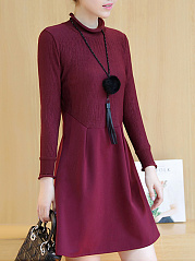 Band Collar  Plain Midi Blend Shift Dress