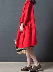 Oversized Solid Round Neck Shift Dress