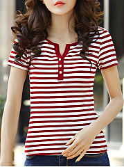 Spring Summer  Cotton  Women  V-Neck  Striped Short Sleeve T-Shirts