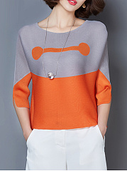 Spring Summer  Polyester  Women  Round Neck  Color Block  Three-Quarter Sleeve Blouses