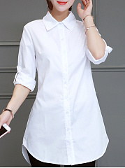 Turn Down Collar  Loose Fitting  Plain Blouses