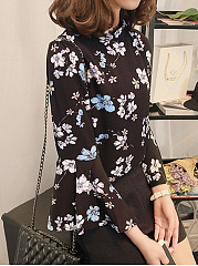 Band Collar  Floral Printed  Bell Sleeve  Three-Quarter Sleeve Blouses