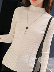 High Neck  Plain Striped  Long Sleeve Sweaters Pullover