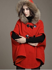 Hooded Plain Woolen Cape