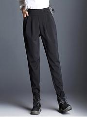 Casual-Pocket-Plain-Pegged-Pants