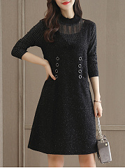 Band Collar Hollow Out Pocket Shift Dress