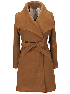 Lapel Belt Plain Longline Woolen Coat