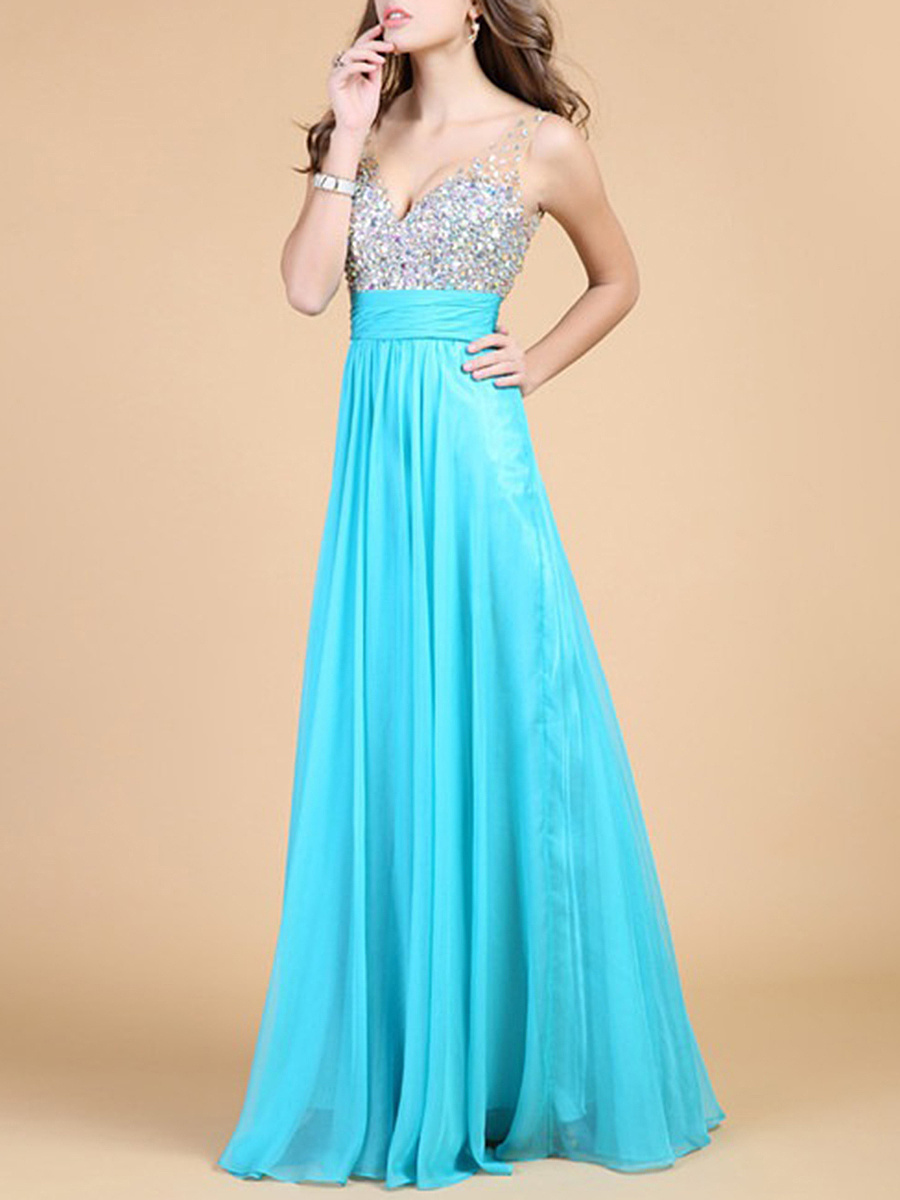 V-Neck See-Through Sequin Evening Dress