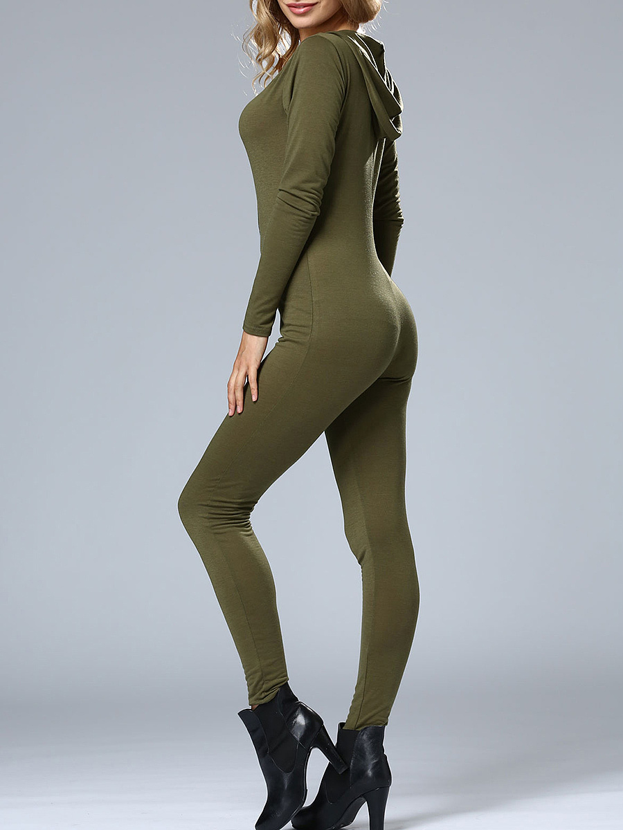 Sexy Designed Hooded Zips Solid Slim-Leg Jumpsuit