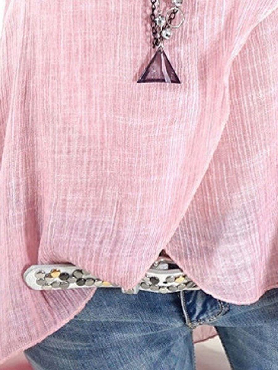 Summer  Cotton  Women  Round Neck  Asymmetric Hem Patchwork  Plain  Sleeveless Blouses