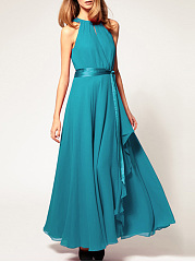 Crew Neck Slit Belt Keyhole Plain Maxi Dress