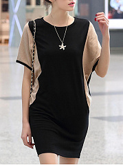 Color Block Batwing Sleeve Bodycon Dress