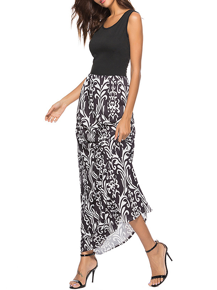 Round Neck  Printed Maxi Dress
